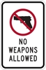 ISI71: NO WEAPONS ALLOWED SIGN 12X18