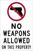 ISI72: NO WEAPONS ALLOW ON THIS PROPERTY DECAL 4X6