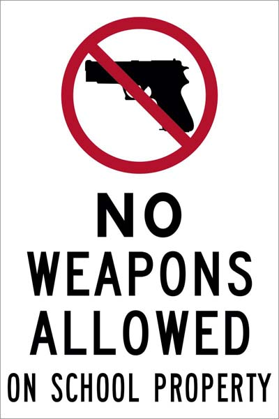 isi75  no weapons allow on school property decal 4x6