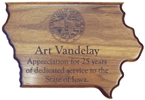 State of Iowa Plaque, Walnut, 12x8