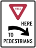 R1-5AR: YIELD HERE TO PEDESTRIANS RIGHT 36X48