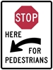 R1-5CL: STOP HERE TO PEDESTRIANS LEFT 36X48