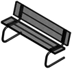 Poly-Coated Metal Benches, Freestanding