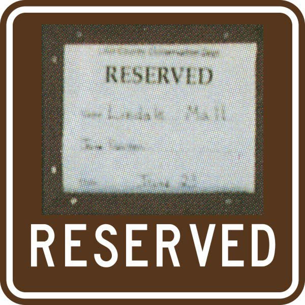 ISI10: RESERVED/ WITH OAK PLAQUE 18X18