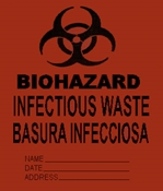 "12"" x 4"" x 21"" Gussetted Yellow Biohazard Bag"