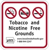 ISI144: TOBACCO & NICOTINE FREE SIGN 12X12