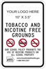 ISI145: (LOGO) TOBACCO & NICOTINE FREE SIGN 12X18