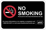 ISI20: IDPH NO SMOKING SIGN (BLACK) 18X12