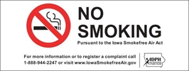 ISI21: IDPH NO SMOKING DECAL 8X3