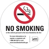 "ISI33: NO SMOKING DECAL WHITE 3""RND"