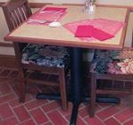 Pedestal Table, Wood Trim