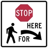 R1-5BR: STOP HERE TO PEDESTRIANS RIGHT 36X36