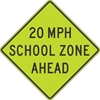 S4-5A: (#) MPH SCHOOL ZONE AHEAD 48X48
