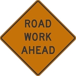 W20-1: ROAD WORK (#FT, #MILES, AHEAD) 36X36