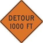 W20-2: DETOUR (#FT, #MILES, AHEAD) 30X30