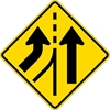 W4-3L: ADDED LANE LEFT SYMBOL 36X36
