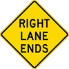 W9-1R: RIGHT LANE ENDS 36X36