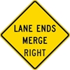 W9-2R: LANE ENDS MERGE RIGHT 30X30